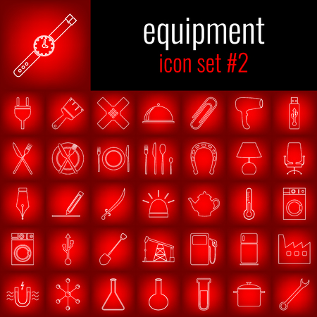 Equipment. Icon set 2. White line icon on red gradient backgrpund.