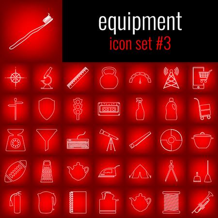 Illustration pour Equipment. Icon set 3. White line icon on red gradient backgrpund. - image libre de droit