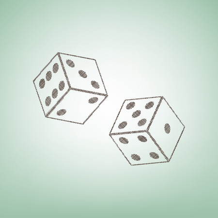 Dices sign. Vector. Brown flax icon on green background with light spot at the center.