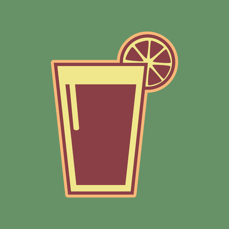 Glass of juice icons. Vector. Cordovan icon and mellow apricot halo with light khaki filled space at russian green background.