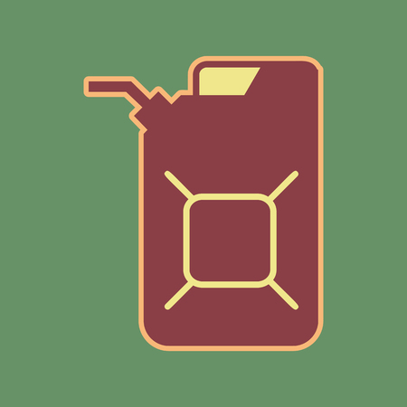 Jerrycan oil sign. Jerry can oil sign. Vector. Cordovan icon and mellow apricot halo with light khaki filled space at russian green background.