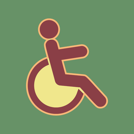 Disabled sign illustration. Vector. Cordovan icon and mellow apricot halo with light khaki filled space at russian green background.