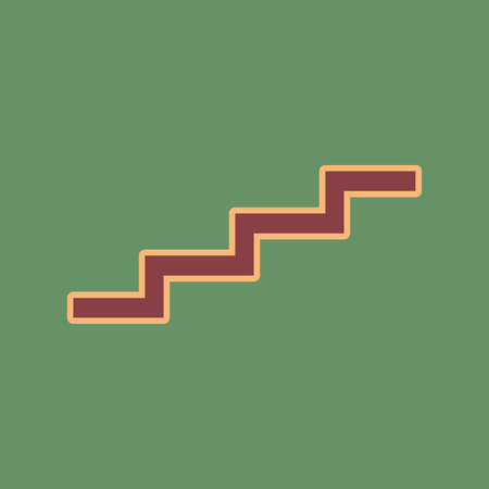 Stair up sign. Vector. Cordovan icon and mellow apricot halo with light khaki filled space at russian green background.