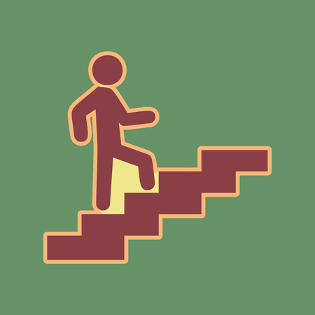 Man on Stairs going up. Vector. Cordovan icon and mellow apricot halo with light khaki filled space at russian green background.