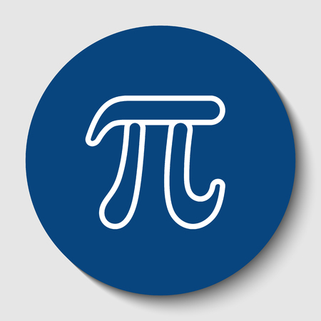 Pi greek letter sign. Vector. White contour icon in dark cerulean circle at white background. Isolated.