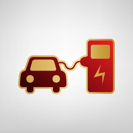 Electric Car Battery Charging Sign Vector Red Icon On Gold Sticker
