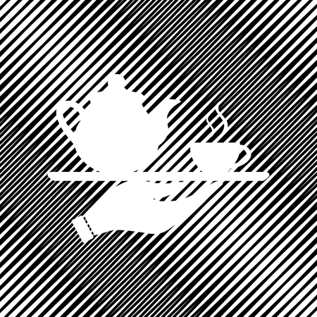Hand with cup of coffee or tea sign illustration. Vector icon.