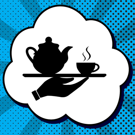 Hand with cup of coffee or tea sign illustration. Vector. Black icon in bubble on blue pop-art background with rays.