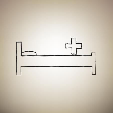 Illustration pour Hospital sign illustration. Vector. Brush drawed black icon at light brown background. - image libre de droit