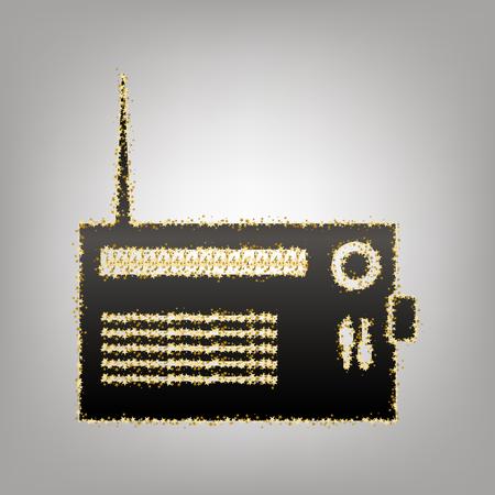 Illustration pour Radio sign illustration. Vector. Blackish icon with golden stars at grayish background. - image libre de droit