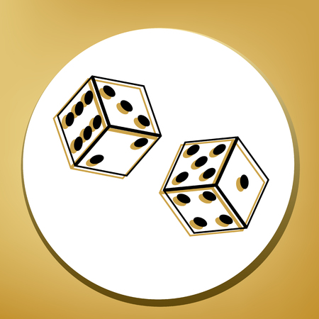 Dices sign. Vector. Black icon with light brown shadow in white circle with shaped ring at golden background.