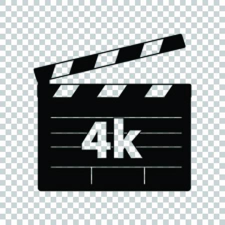 Illustration for 4k film sign. Black icon on transparent background. - Royalty Free Image