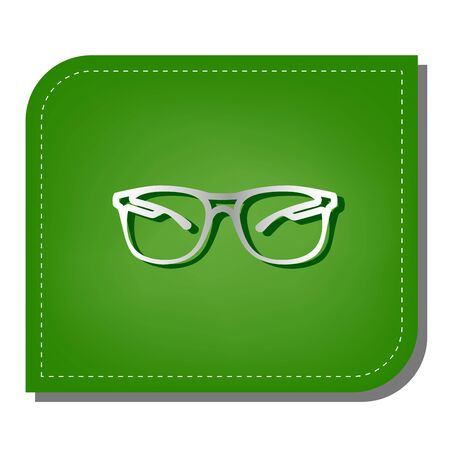 Illustration pour Sunglasses sign illustration. Silver gradient line icon with dark green shadow at ecological patched green leaf. - image libre de droit