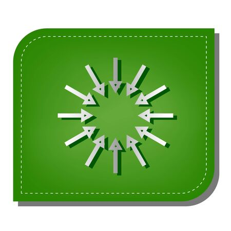 Illustration pour Arrows sign. Silver gradient line icon with dark green shadow at ecological patched green leaf. - image libre de droit