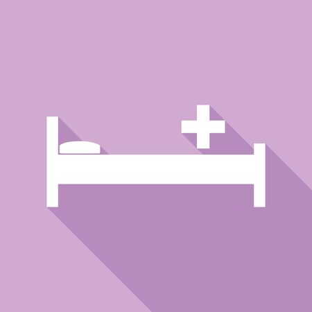 Illustration pour Hospital sign illustration. White Icon with long shadow at purple background. - image libre de droit