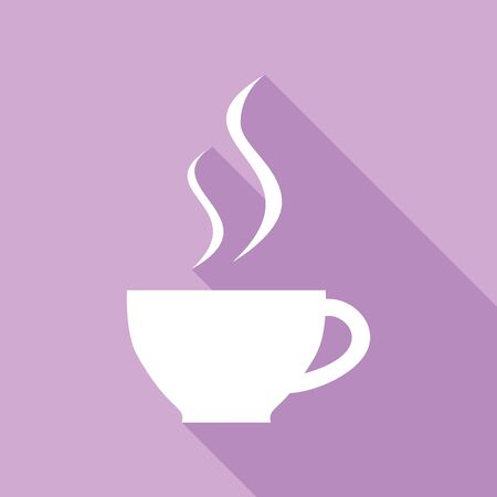 Illustration pour Cup sign with two small streams of smoke. White Icon with long shadow at purple background. - image libre de droit