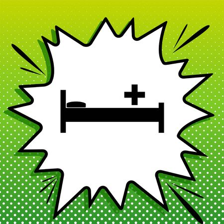 Illustration pour Hospital sign illustration. Black Icon on white popart Splash at green background with white spots. - image libre de droit