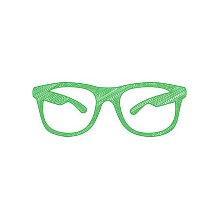 Illustration pour Sunglasses sign illustration. Green scribble Icon with solid contour on white background. - image libre de droit