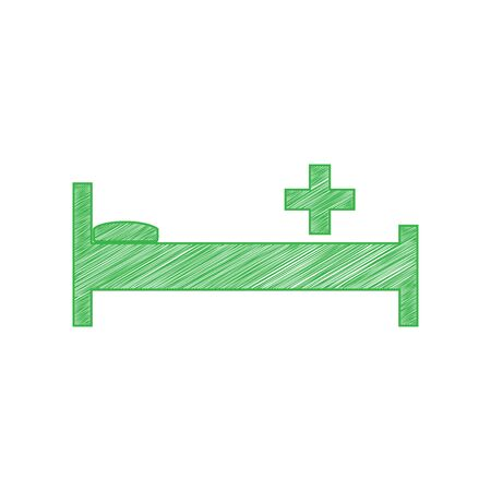 Illustration pour Hospital sign illustration. Green scribble Icon with solid contour on white background. - image libre de droit