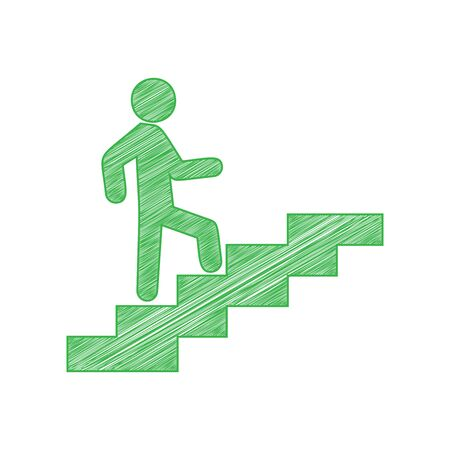 Man on Stairs going up. Green scribble Icon with solid contour on white background.