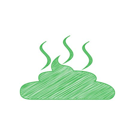 Simple Poop sign illustration. Green scribble Icon with solid contour on white background.