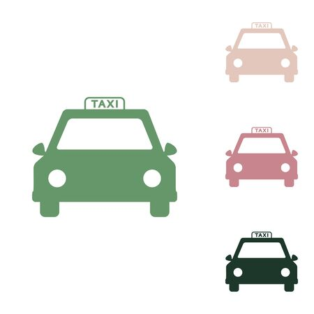 Illustration for Taxi sign illustration. Russian green icon with small jungle green, puce and desert sand ones on white background. - Royalty Free Image