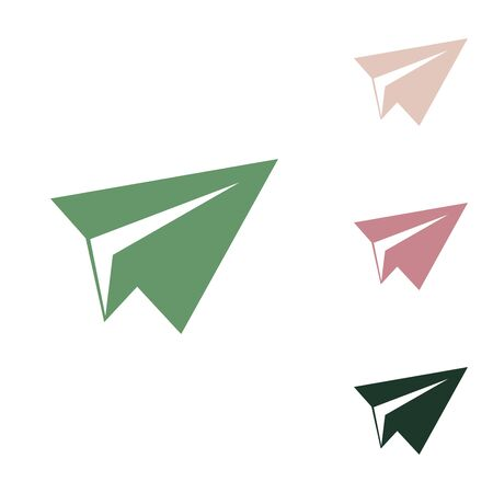 Illustration for Paper airplane sign. Russian green icon with small jungle green, puce and desert sand ones on white background. - Royalty Free Image