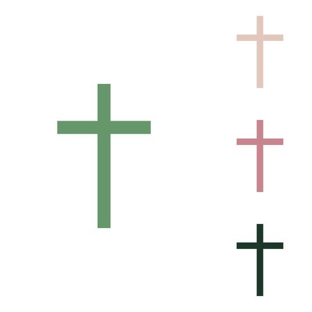 Illustration pour Cross sign. Russian green icon with small jungle green, puce and desert sand ones on white background. - image libre de droit