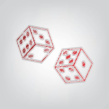Dices sign. Red gradient scribble Icon with artistic contour gray String on light gray Background.
