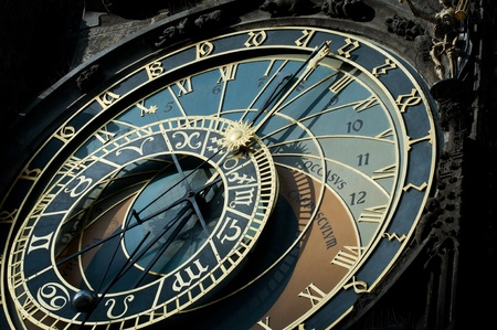 The famous astronomical clock of the old Prague s town hall with the signs