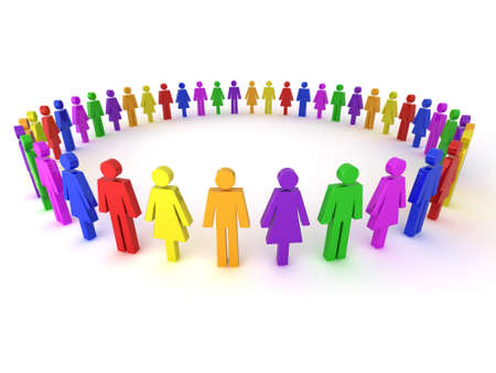 Illustration of a group of multi-colored people to represent diversity, multi cultural society, team work togetherness and many more.