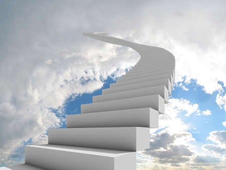 Illustration of a long, winding stairway leading to the clouds. Could represent a career, success, a journey, or going to heaven.