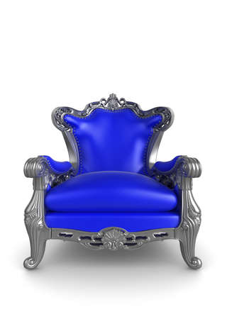 3d illustration of a blue and silver antique armchair