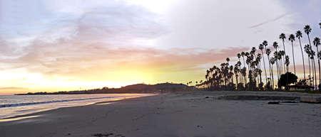 sunset with santa barbara's palm trees