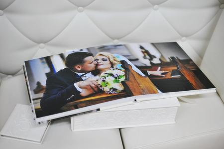 white leather wedding photo book album