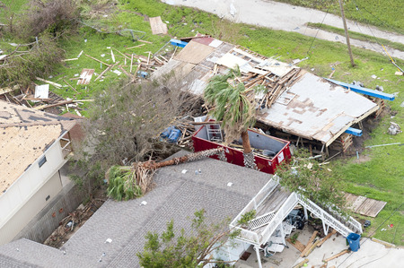 Photo pour Rockport, Texas - August 28, 2017: An aerial view of damage caused by Hurricane Harvey - image libre de droit