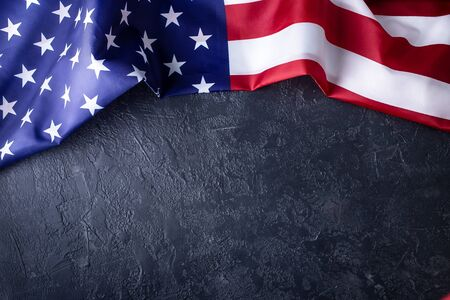 Photo pour American flag on black background - image libre de droit