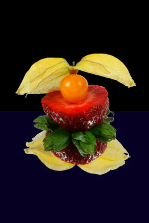 physalis on strawberry,