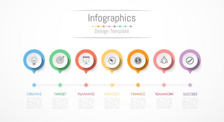 Illustration pour Infographic design elements for your business data with 7 options, parts, steps, timelines or processes. Vector Illustration. - image libre de droit