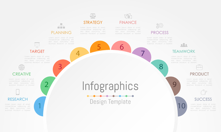 Illustration pour Infographic design elements for your business data with 10 options, parts, steps, timelines or processes. Vector Illustration. - image libre de droit