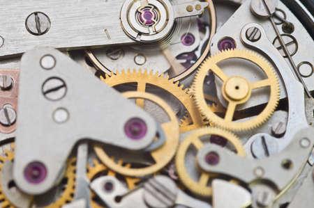Photo pour Clockwork, gears in an old watch. Teamwork concept, idea, technology, eternity, business. Macro - image libre de droit