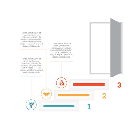Illustration pour Ladder of success, leading up to an open door. Successful business strategy concept in infographics. Universal template 3 position - image libre de droit