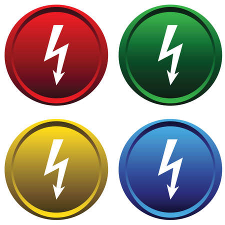 Plastic buttons with the sign of high voltage