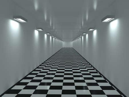 Long corridor with a tiles on a floor