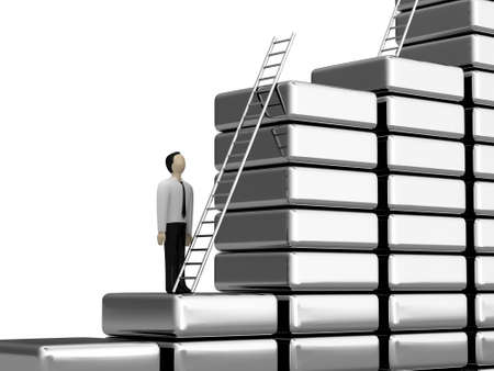 The person before a ladder of the career growth