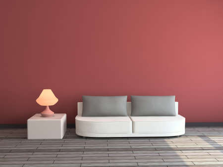 Photo pour Interior with a sofa and a lamp - image libre de droit