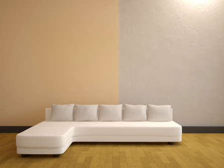 The minimalist interior with a white sofa