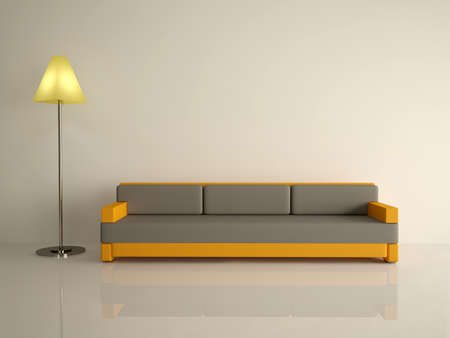 Leather sofa and lamp on a white floor