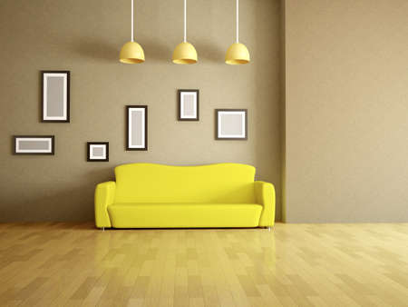 Room interior with a yellow sofa