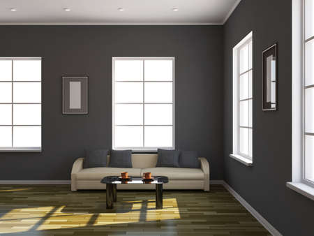 Room interior with a sofa and a table